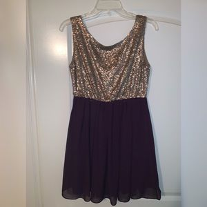 Gold Sparkle and purple dress